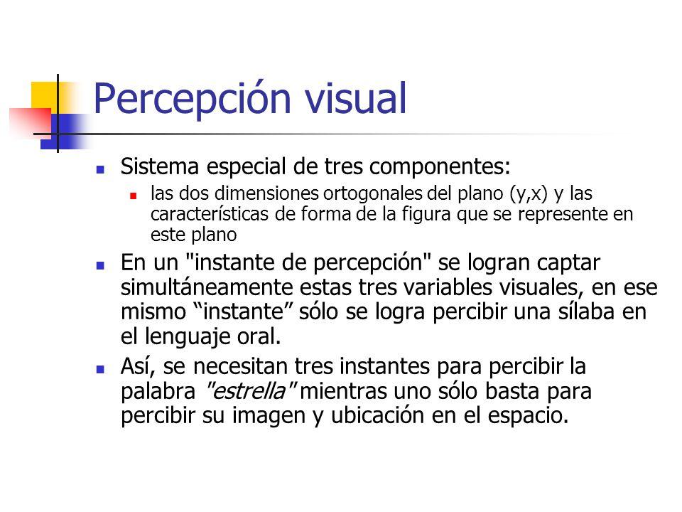 Percepción visual Sistema especial de tres componentes: