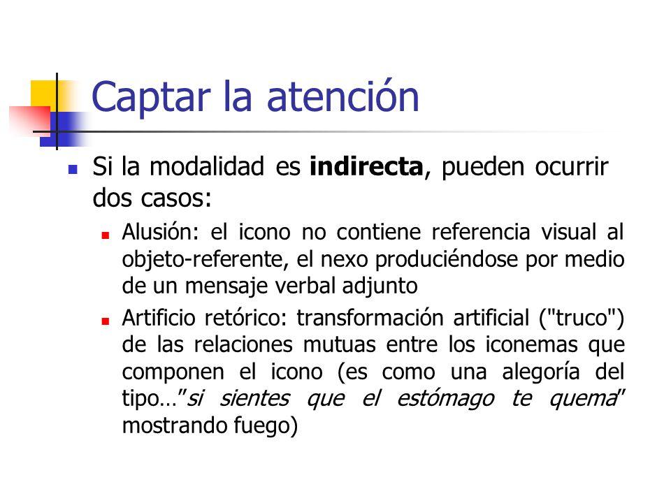 Captar la atención Si la modalidad es indirecta, pueden ocurrir dos casos: