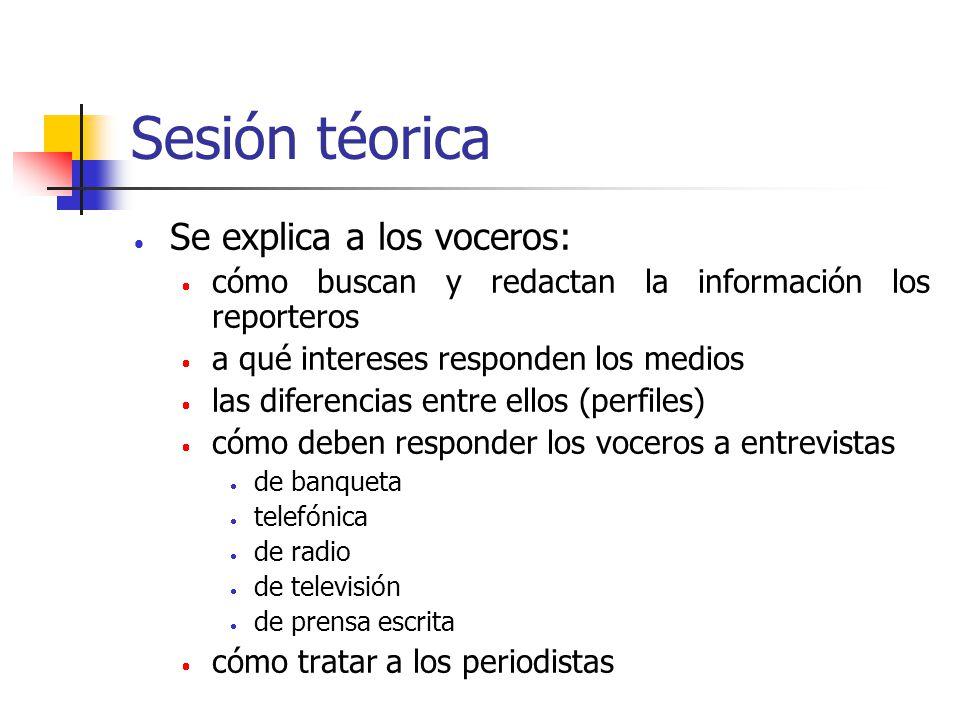 Sesión téorica Se explica a los voceros:
