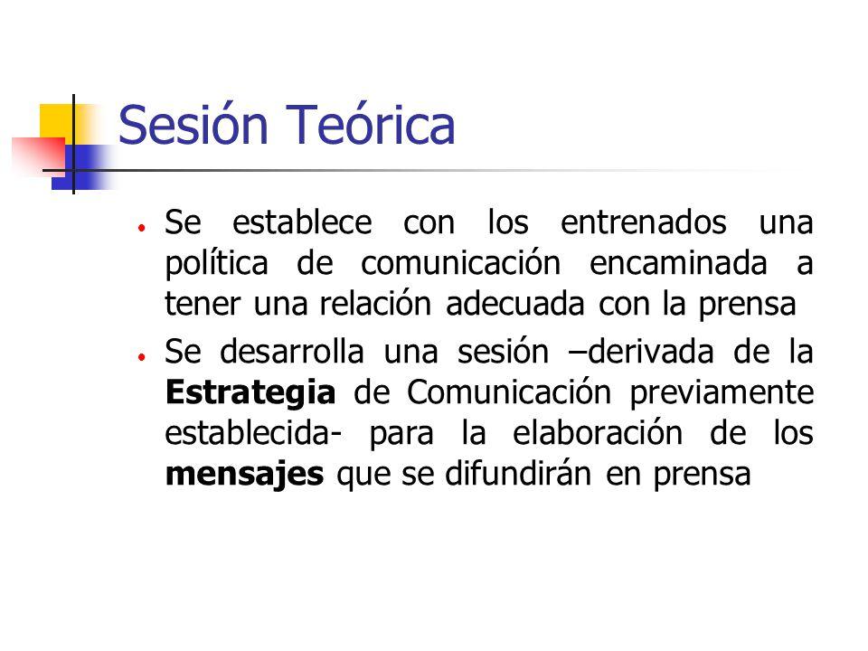 Sesión Teórica Se establece con los entrenados una política de comunicación encaminada a tener una relación adecuada con la prensa.