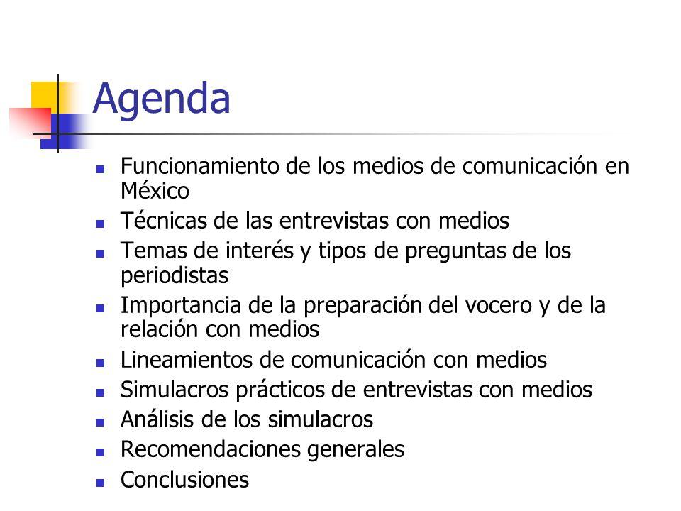 Agenda Funcionamiento de los medios de comunicación en México