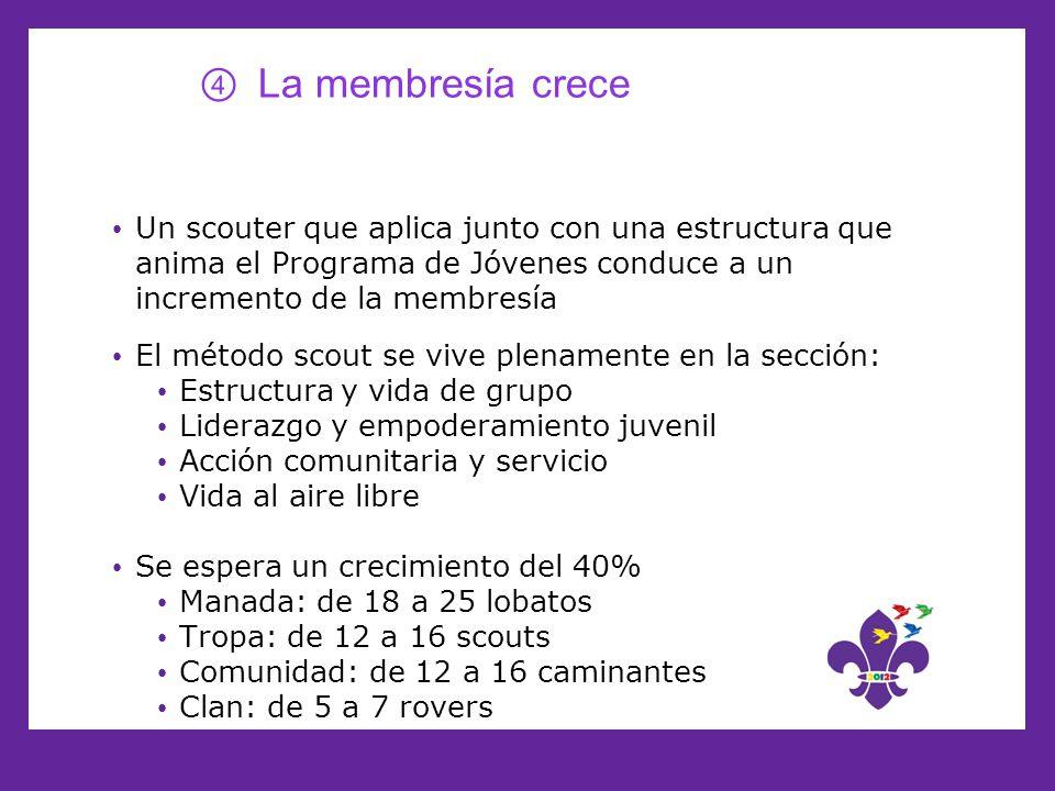 La membresía crece Un scouter que aplica junto con una estructura que anima el Programa de Jóvenes conduce a un incremento de la membresía.