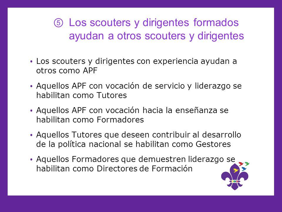 Los scouters y dirigentes formados ayudan a otros scouters y dirigentes
