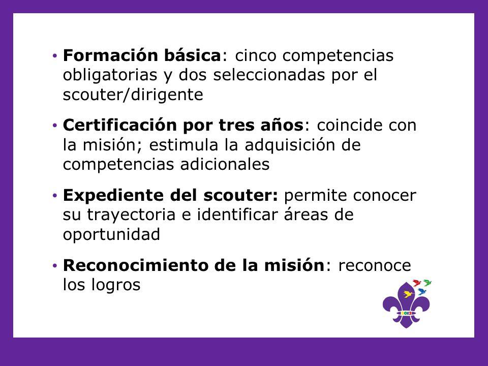 Formación básica: cinco competencias obligatorias y dos seleccionadas por el scouter/dirigente