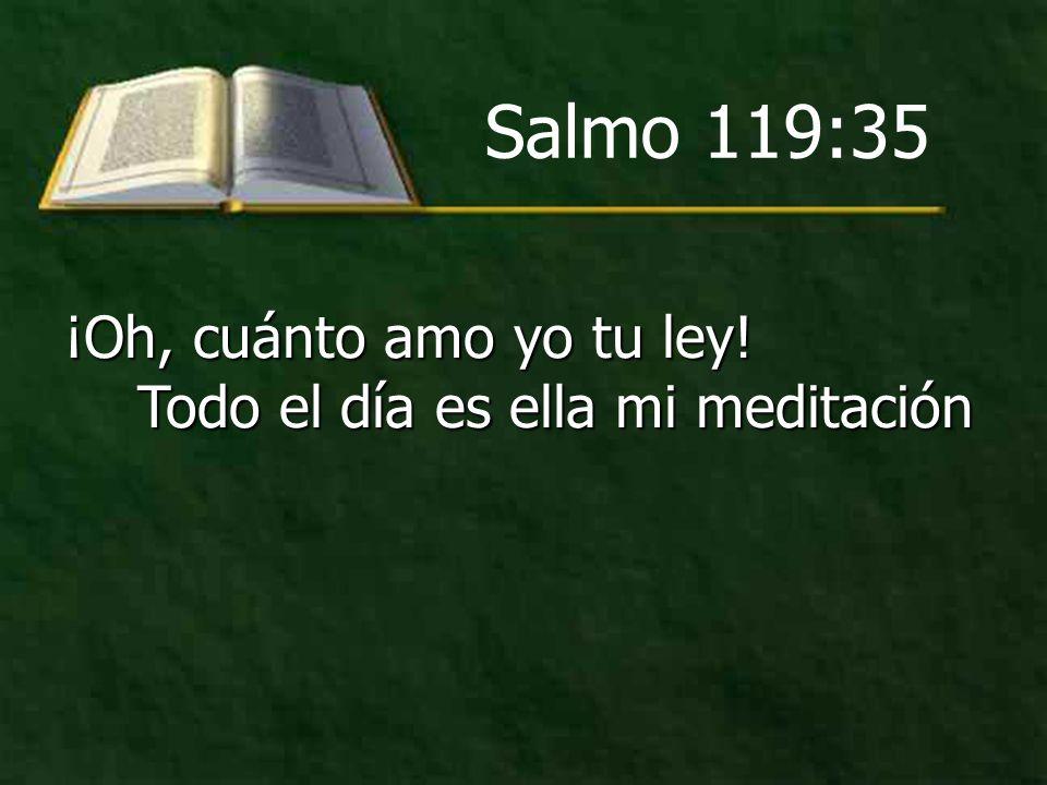 Salmo 119:35 ¡Oh, cuánto amo yo tu ley! Todo el día es ella mi meditación