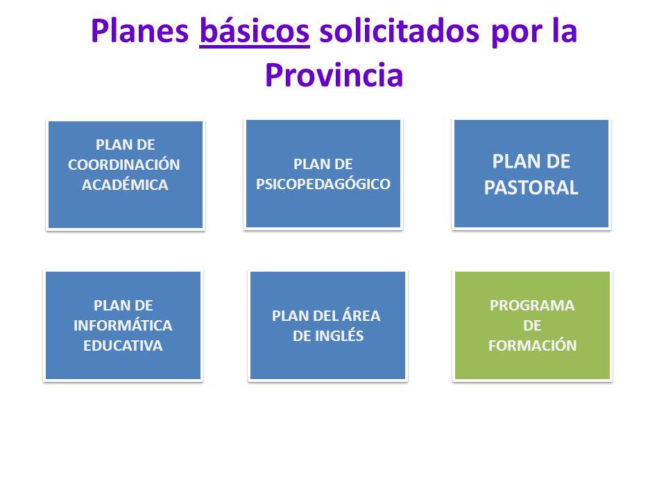 Planes básicos solicitados por la Provincia