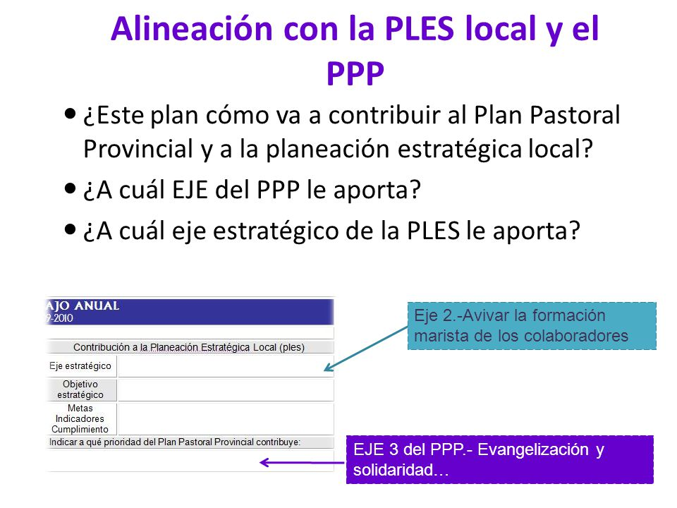 Alineación con la PLES local y el PPP
