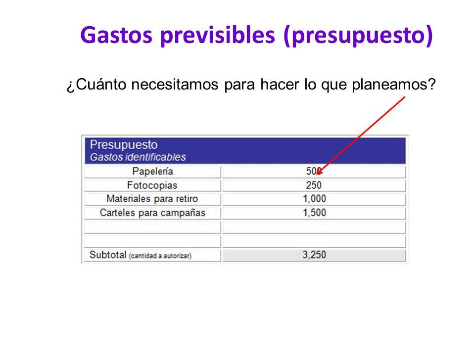 Gastos previsibles (presupuesto)