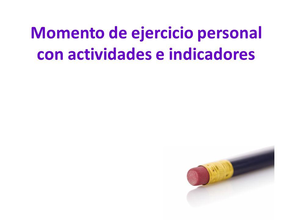 Momento de ejercicio personal con actividades e indicadores