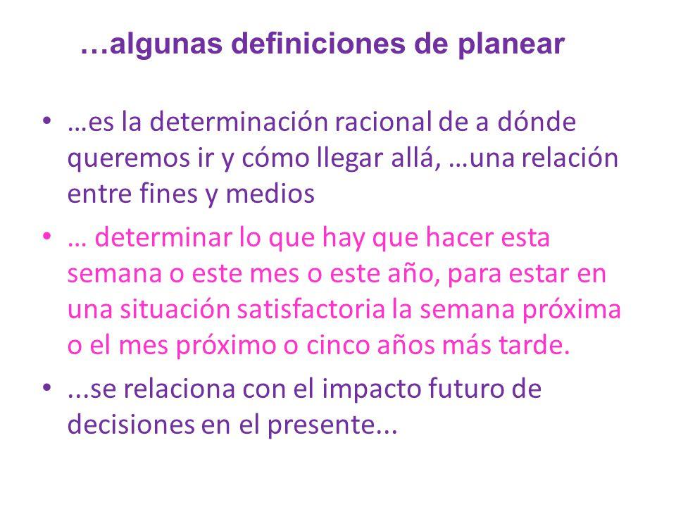 …algunas definiciones de planear