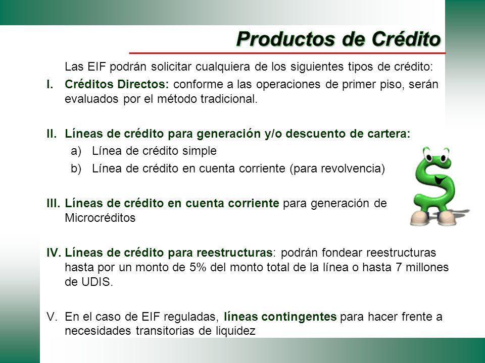 Productos de Crédito Las EIF podrán solicitar cualquiera de los siguientes tipos de crédito: