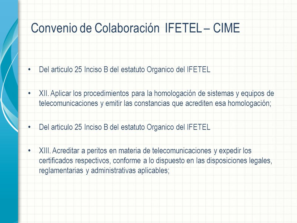 Convenio de Colaboración IFETEL – CIME