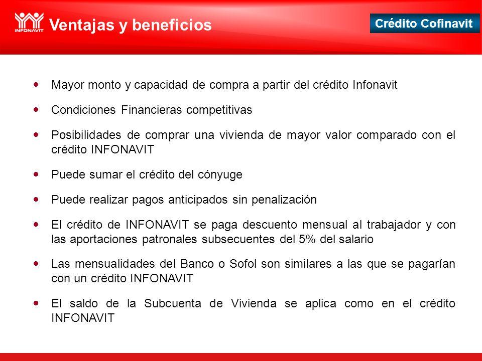 Ventajas y beneficios Mayor monto y capacidad de compra a partir del crédito Infonavit. Condiciones Financieras competitivas.