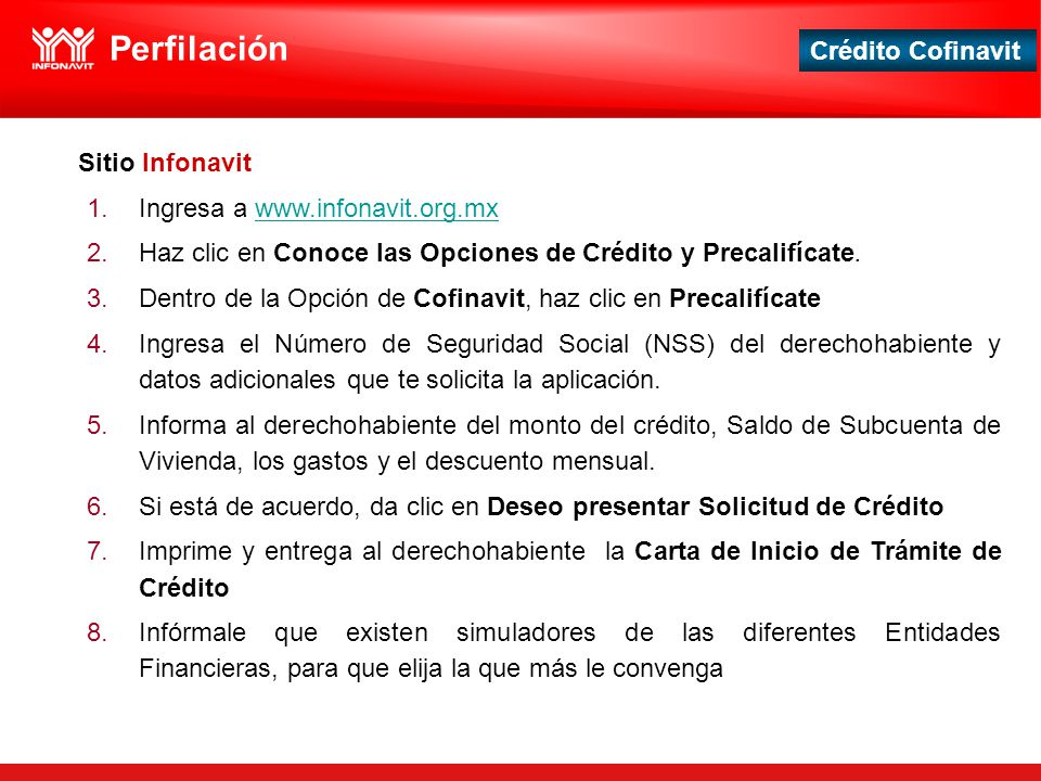 Perfilación Sitio Infonavit Ingresa a www.infonavit.org.mx