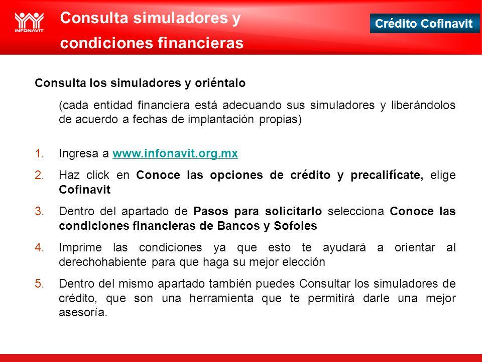Consulta simuladores y condiciones financieras