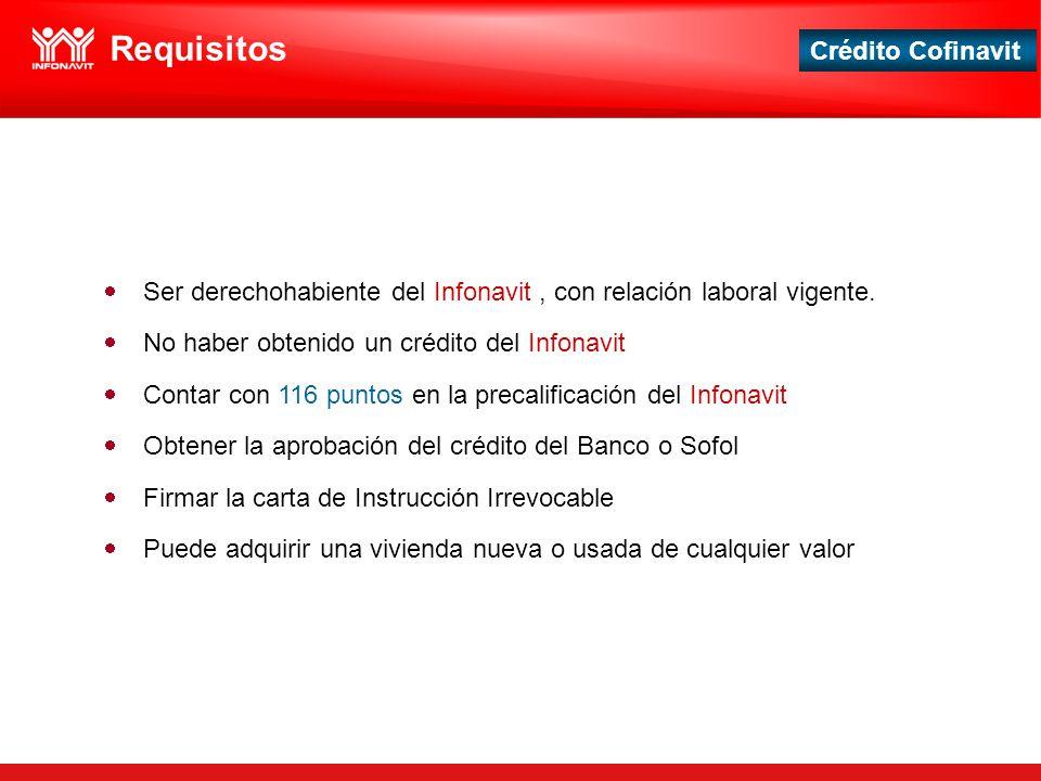 Requisitos Ser derechohabiente del Infonavit , con relación laboral vigente. No haber obtenido un crédito del Infonavit.