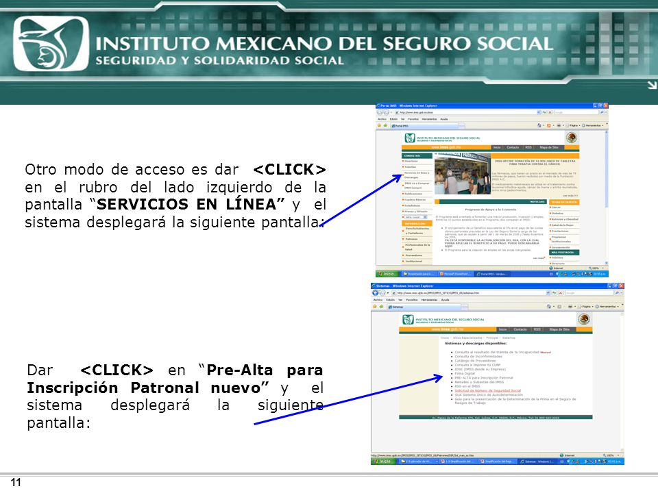 Otro modo de acceso es dar <CLICK> en el rubro del lado izquierdo de la pantalla SERVICIOS EN LÍNEA y el sistema desplegará la siguiente pantalla:
