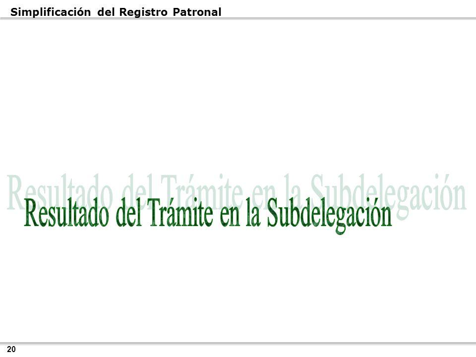 Resultado del Trámite en la Subdelegación
