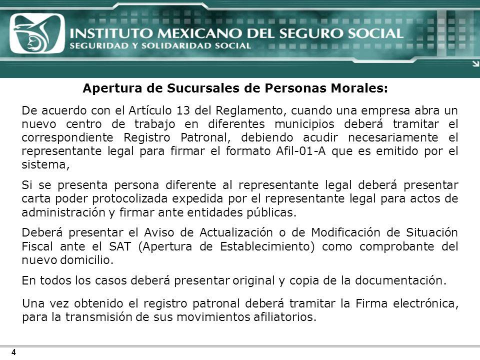 Apertura de Sucursales de Personas Morales: