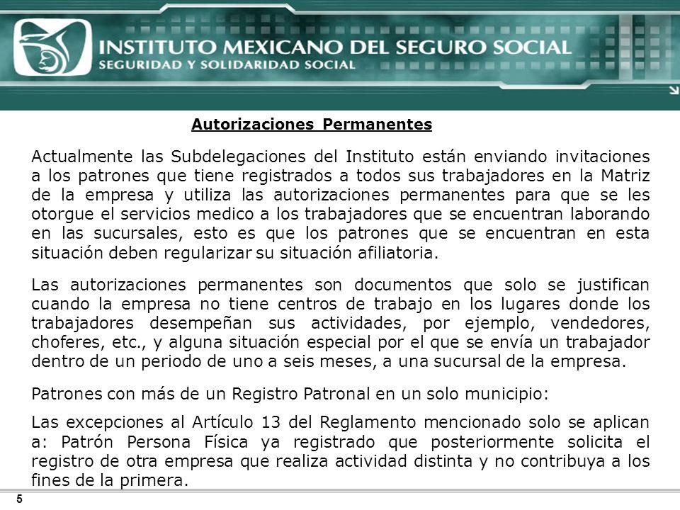 Patrones con más de un Registro Patronal en un solo municipio: