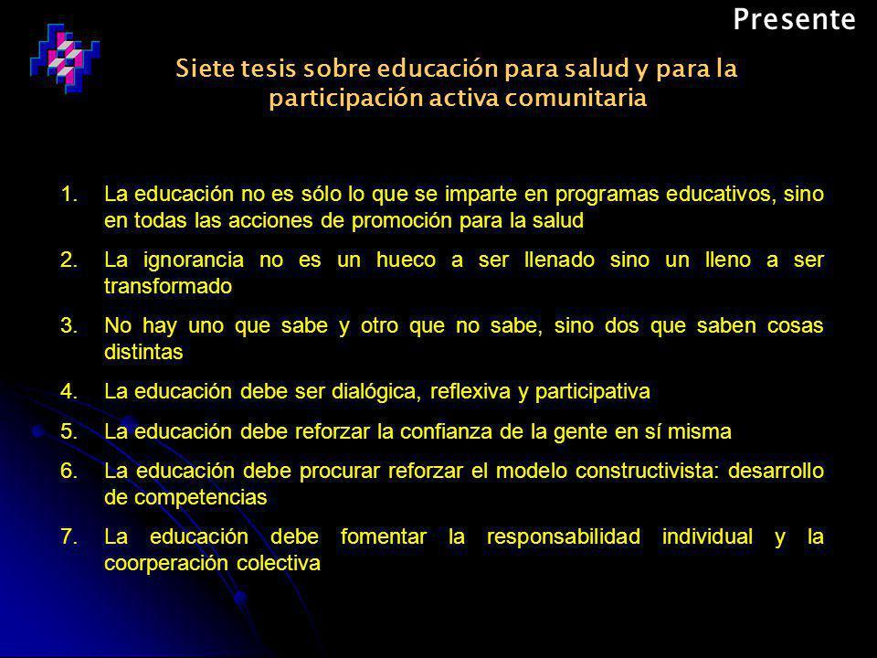Presente Siete tesis sobre educación para salud y para la participación activa comunitaria.