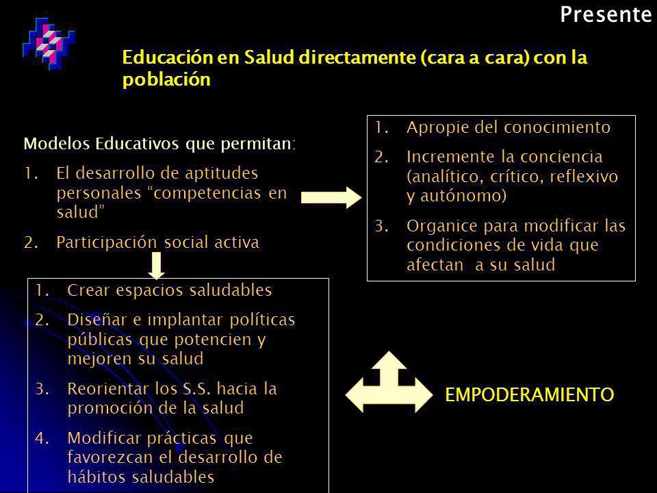Presente Educación en Salud directamente (cara a cara) con la población. Apropie del conocimiento.