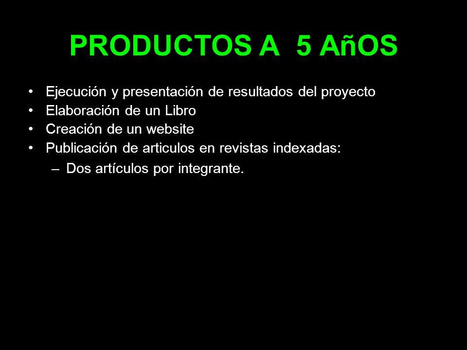 PRODUCTOS A 5 AñOS Ejecución y presentación de resultados del proyecto