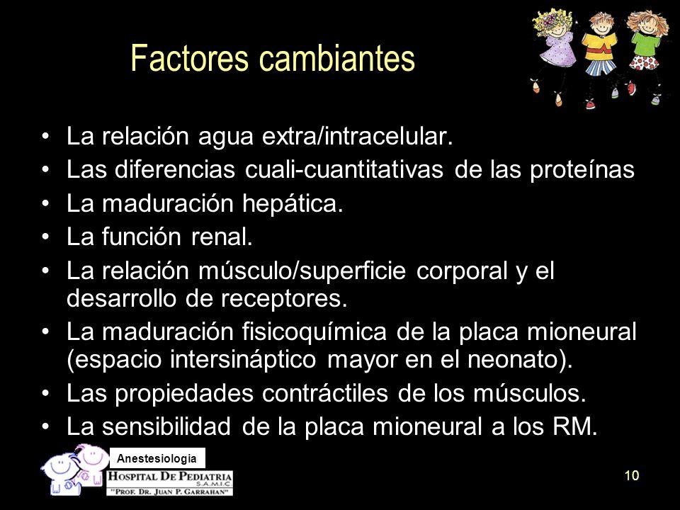 Factores cambiantes La relación agua extra/intracelular.