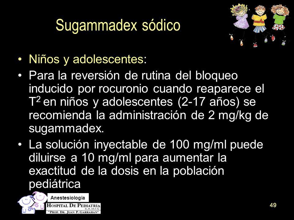 Sugammadex sódico Niños y adolescentes: