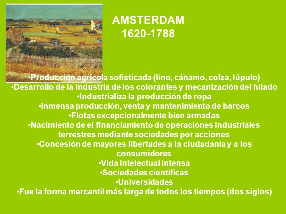 AMSTERDAM 1620-1788. Producción agrícola sofisticada (lino, cáñamo, colza, lúpulo)