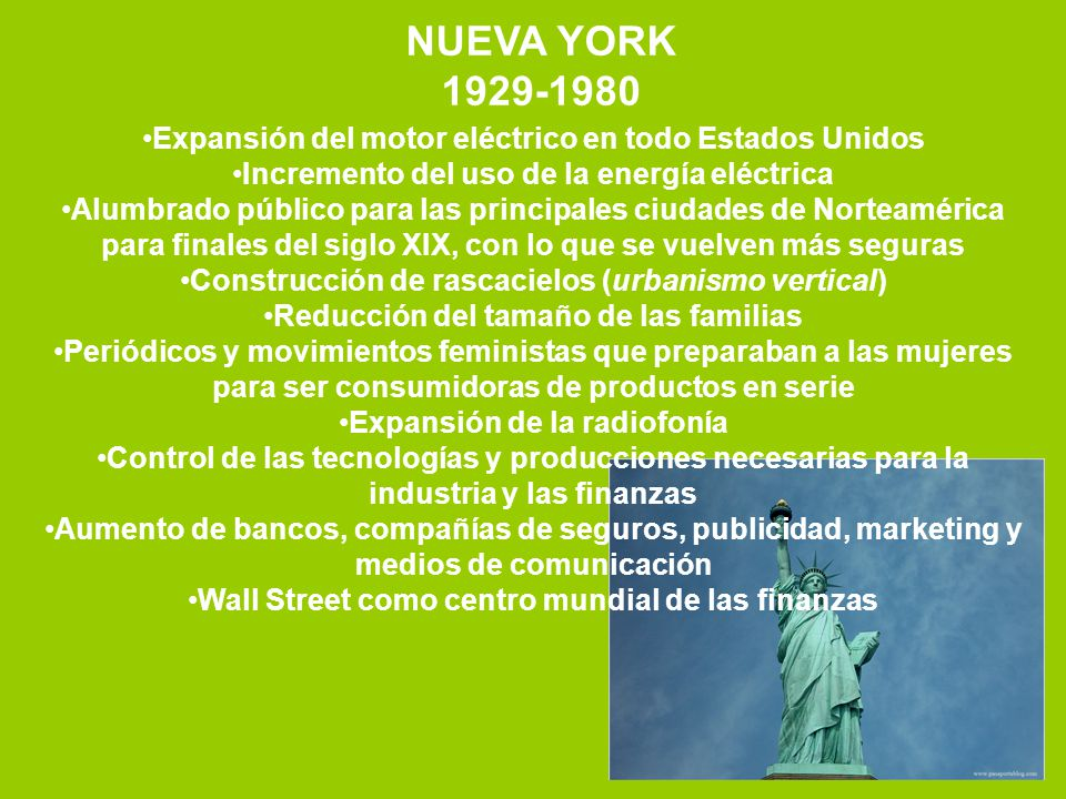 NUEVA YORK 1929-1980. Expansión del motor eléctrico en todo Estados Unidos. Incremento del uso de la energía eléctrica.
