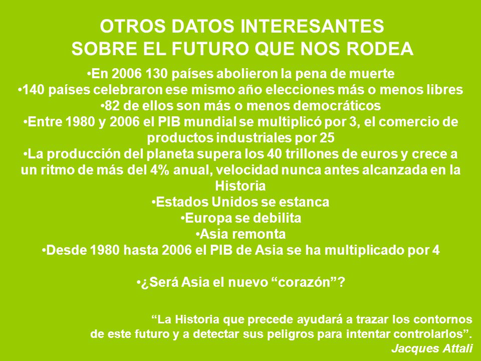 OTROS DATOS INTERESANTES SOBRE EL FUTURO QUE NOS RODEA