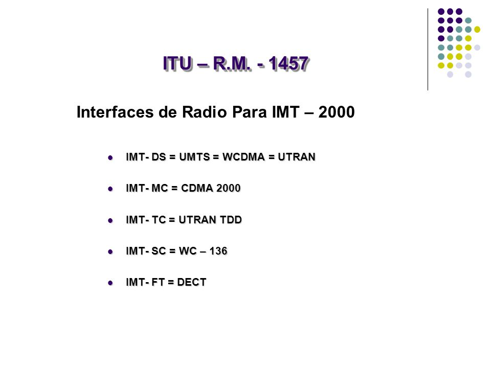 ITU – R.M. - 1457 Interfaces de Radio Para IMT – 2000