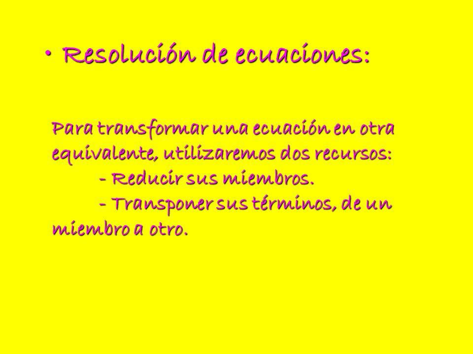 Resolución de ecuaciones: