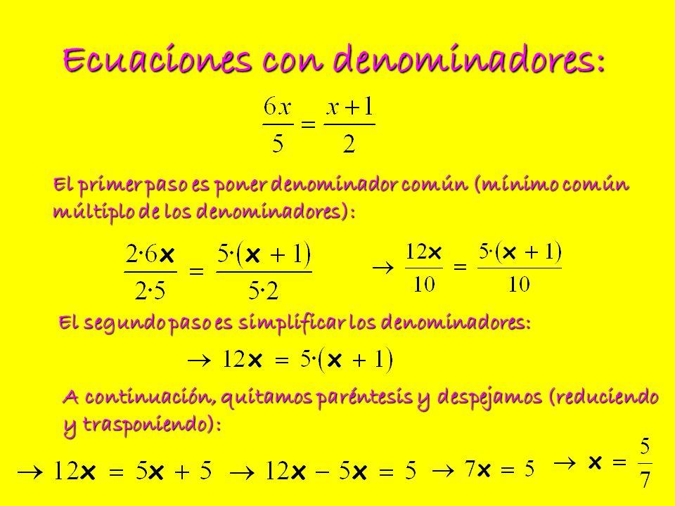 Ecuaciones con denominadores: