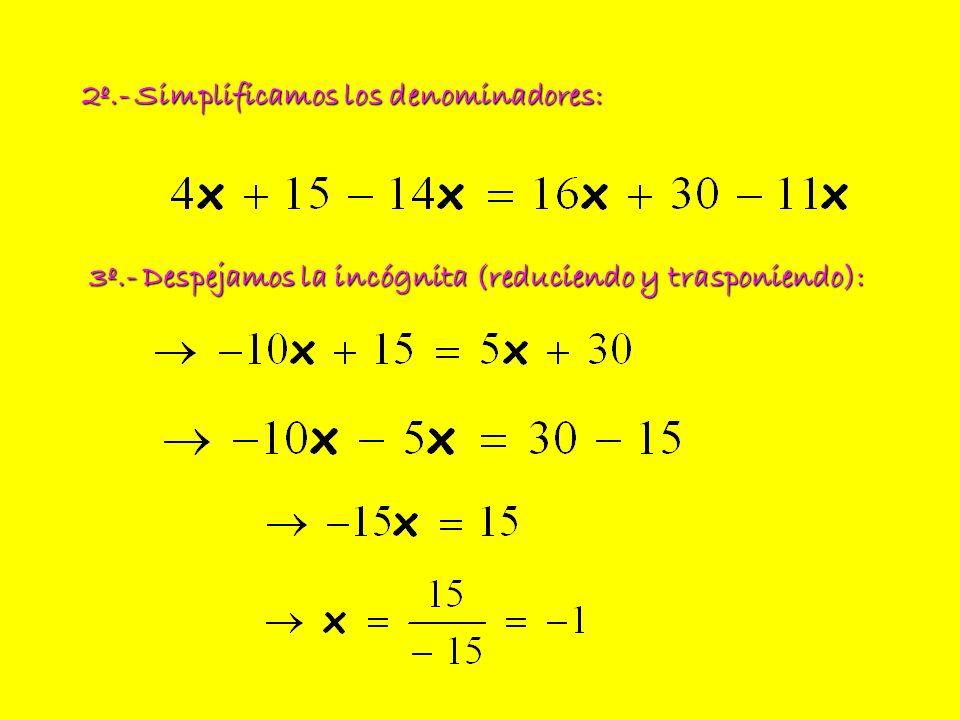 2º.- Simplificamos los denominadores: