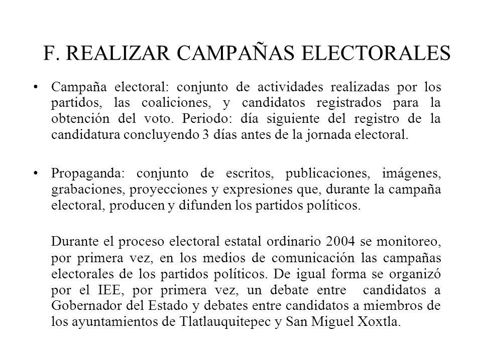 F. REALIZAR CAMPAÑAS ELECTORALES