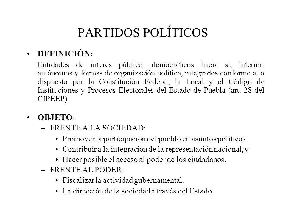 PARTIDOS POLÍTICOS DEFINICIÓN: OBJETO: