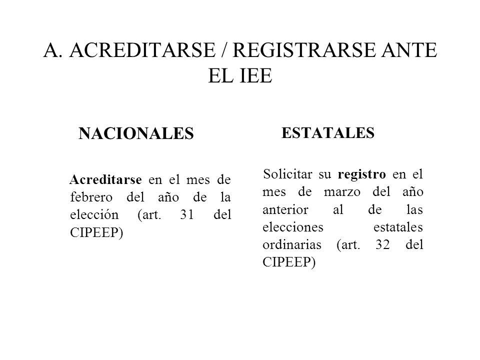 A. ACREDITARSE / REGISTRARSE ANTE EL IEE