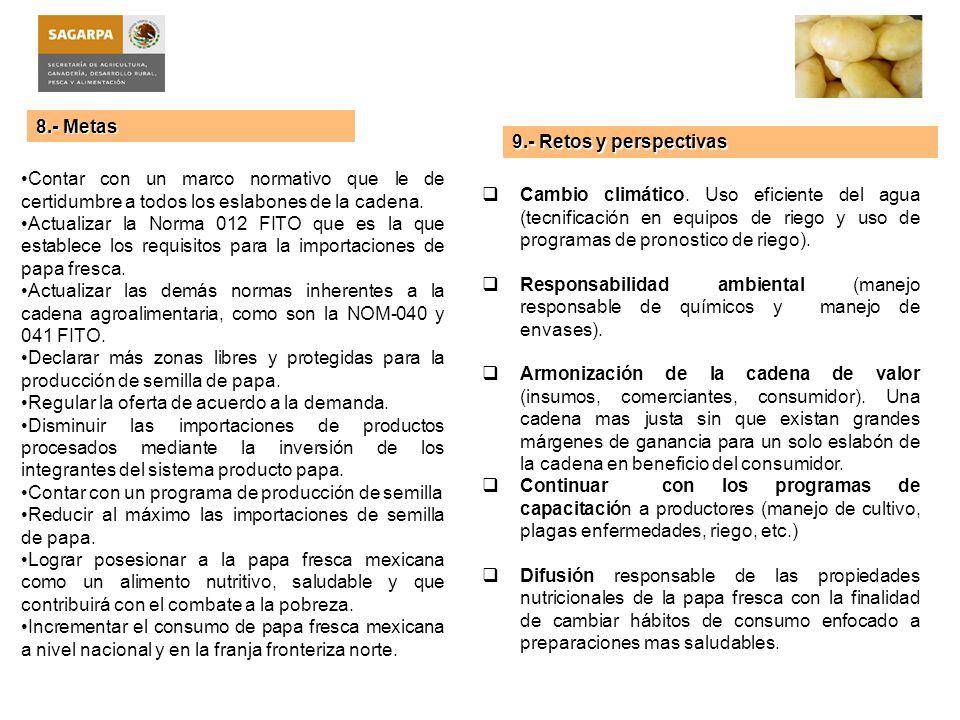 8.- Metas 9.- Retos y perspectivas. Contar con un marco normativo que le de certidumbre a todos los eslabones de la cadena.