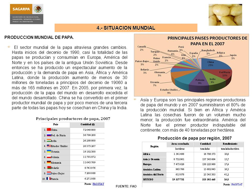 Producción de papa por región, 2007
