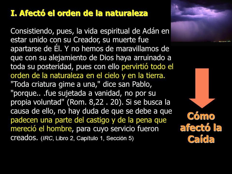 Cómo afectó la Caída I. Afectó el orden de la naturaleza
