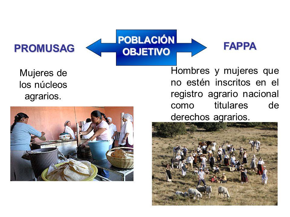 Mujeres de los núcleos agrarios.