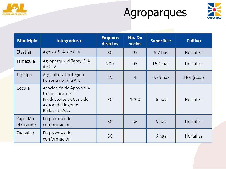 Agroparques Municipio Integradora Empleos directos No. De socios