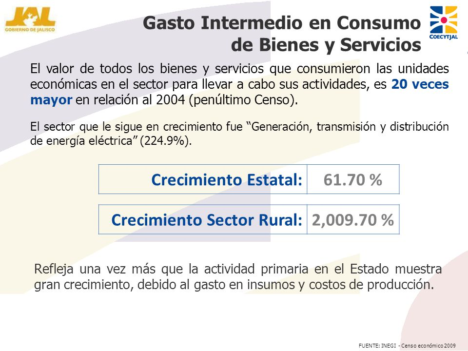 Gasto Intermedio en Consumo de Bienes y Servicios