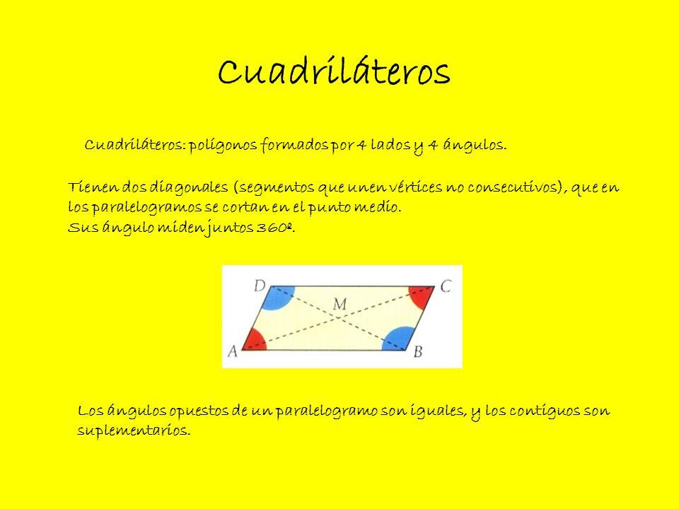 CuadriláterosCuadriláteros: polígonos formados por 4 lados y 4 ángulos. Tienen dos diagonales (segmentos que unen vértices no consecutivos), que en.