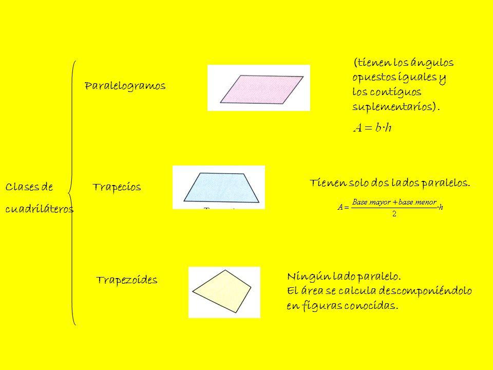 (tienen los ángulosopuestos iguales y. los contiguos. suplementarios). Paralelogramos. Tienen solo dos lados paralelos.