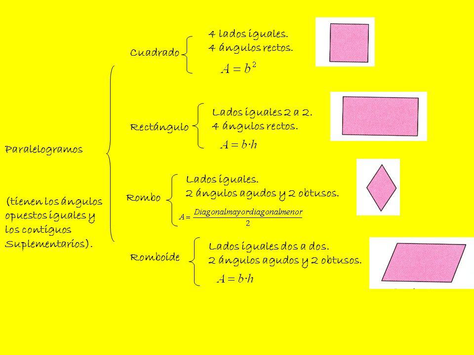 4 lados iguales.4 ángulos rectos. Cuadrado. Lados iguales 2 a 2. 4 ángulos rectos. Rectángulo. Paralelogramos.