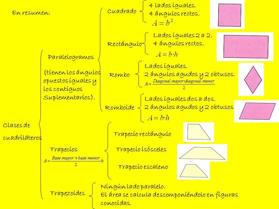 4 lados iguales.4 ángulos rectos. En resumen: Cuadrado. Lados iguales 2 a 2. 4 ángulos rectos. Rectángulo.