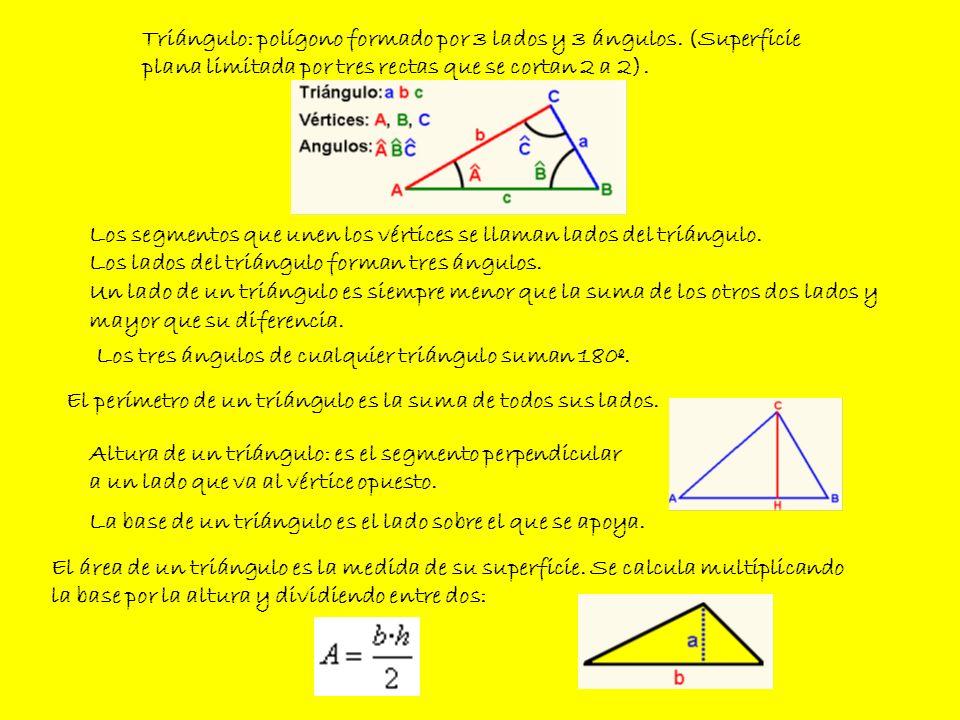 Triángulo: polígono formado por 3 lados y 3 ángulos. (Superficie